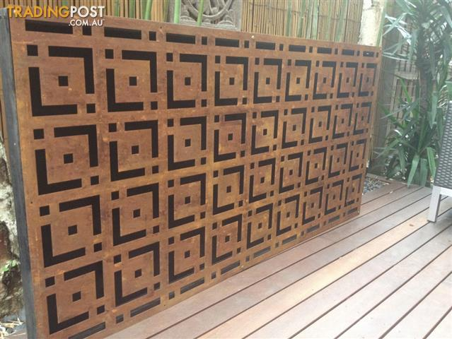 Metal Laser Cut Rust Garden Oriental Feature Steel Wall