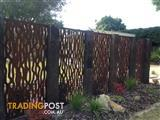 Metal laser cut rust Tree Bark feature wall panel privacy screen