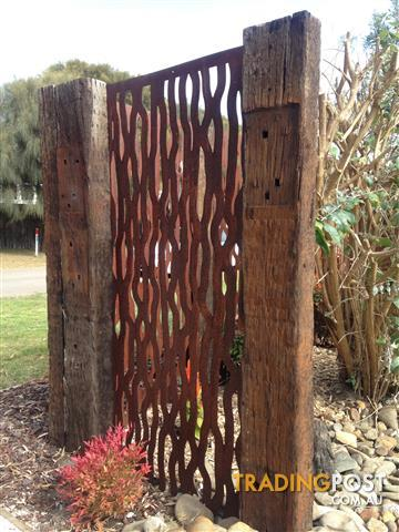 Metal laser cut rust tree bark feature wall panel privacy for Garden feature screens