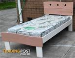 nice timber single bed with mattress