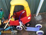 i am selling 2 ride on tricycles and a scooter