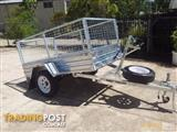 7x4 Tilt Trailer with Cage & Spare Hot Dipped Gal Tilt 7x4 Trailer with Cage
