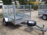 8x5 Single Hot Dipped Gal with 900Cage & 1300 Ramp Hot Dipped Gal Single Trailer,900Cage&1300Ramp