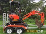 1.7T Kubota excavator for wet/dry hire