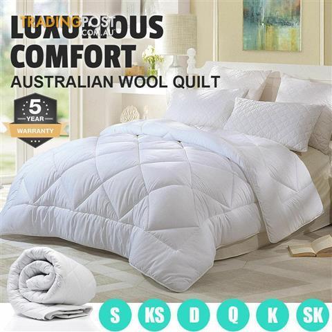 QUEEN Size Australia Made Luxury Summer Merino Wool Quilt//Duvet//Doona 350GSM