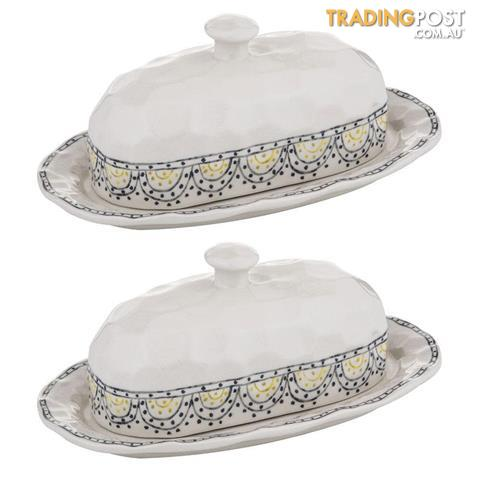 Amalfi Ethnique 27cm Stoneware Butter Dish//Container//Holder Tableware w//Lid IVY