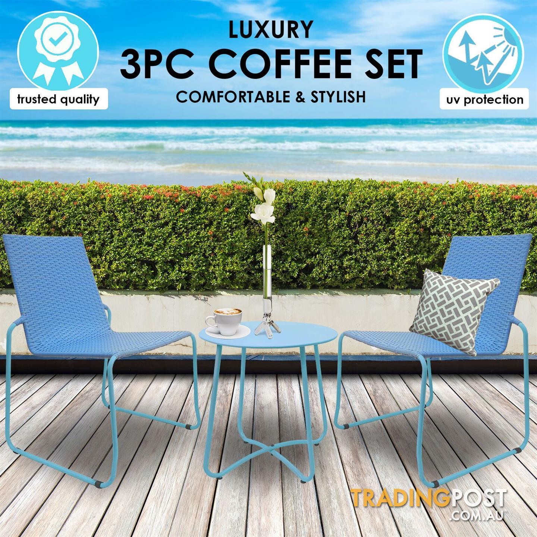 Milano outdoor steel rattan 3 piece blue coffee set