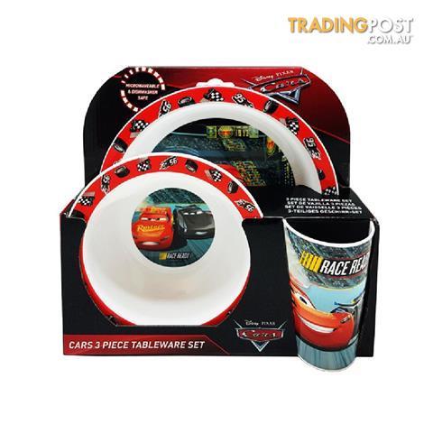 Cars Childrens//Kids 3 Piece Dinner Set One Size Red//White//Black