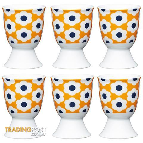 6pc Kitchencraft Retro Flower Spot Boiled Egg Cup Holder Stand