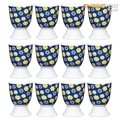 12pc Kitchencraft Floral Blue Boiled Egg Cup Holder Stand Tableware
