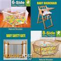 NEW NATURAL WOODEN BABY PLAYPEN AND SAFETY GATE