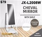 White Rectangular Cheval Free Standing Floor Mirror with Shelf