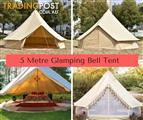 New in Box 5M Bell Tent RRP $1190.00 zipped floor - Mosquito netting  Sleeps 3x Double beds.