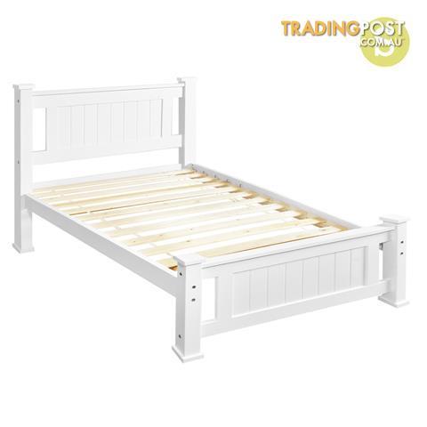 Wooden Bed Frame Pine Wood Single White for sale in Baulkham Hills ...