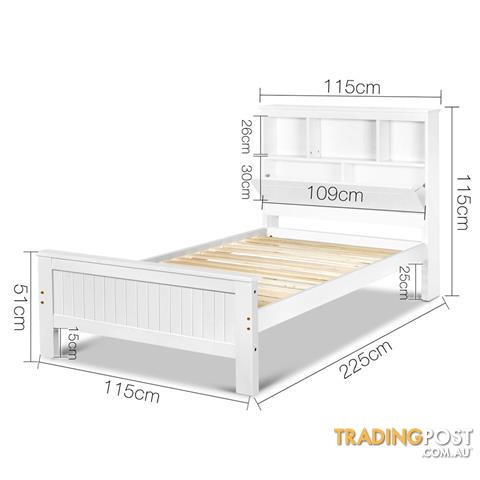 King Single Wooden Bedframe With Storage Shelf White