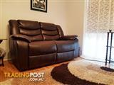 Chocolate brown 100% Italian leather lounge suite