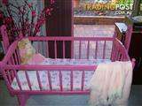 SMALLER COT( CRADLE & ROCKER) COLOUR PINK FOR YOUR LITTLE BABY GIRL
