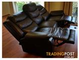 Incl. Delivery - GC to 30km Only - 100% Leather - Ashleigh 3 Seater 2 inbuilt Electric Recliners