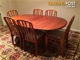 Tasmanian Blackwood oval dining table with 6 chairs