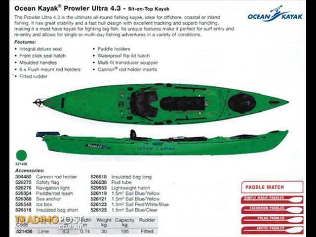 Ocean kayak prowler ultra 4 3 sit on top touring fishing for Fishing kayak brands