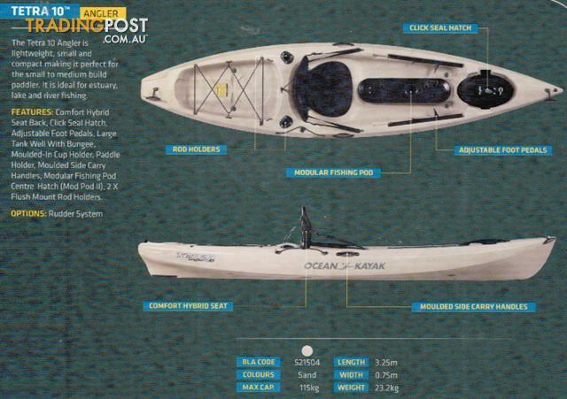 Brand new ocean kayak tetra 10 angler sit on top fishing for Fishing kayak brands