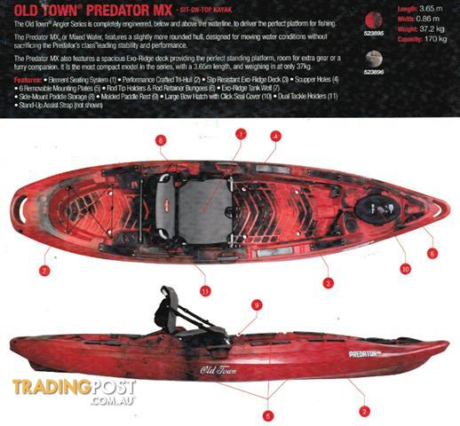Brand new old town predator mx fishing kayak new release for Fishing kayak brands