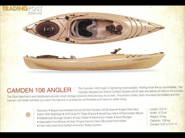 Old town camden 106 angler fishing kayak package with all for Angler fish for sale