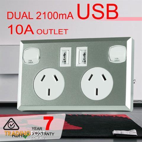 10A Double Australian USB Power Point Supply 2 Socket Switch Wall ...