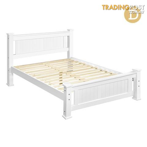 Wooden Bed Frame Pine Wood Queen White for sale in Melbourne VIC ...