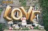 "Giant 40"" Love balloons gold for hire:$20"