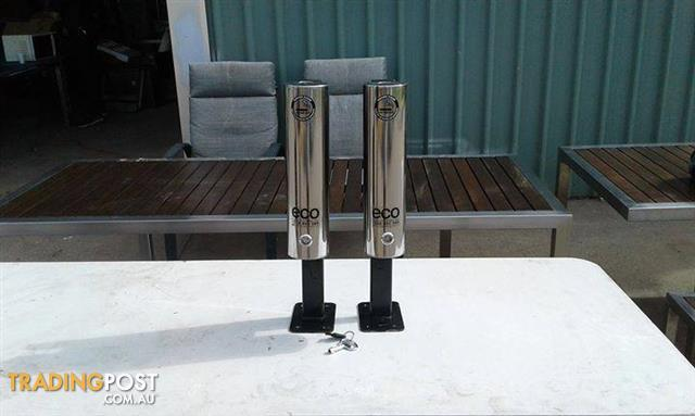 Stainless steel cigarette disposal units with key and mount