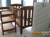 Sturdy Timber Cot and Change Table Set with as new Sealey Mattress