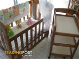 Timber Cot+Change Table, as new Sealy mattress, plus extras as shown