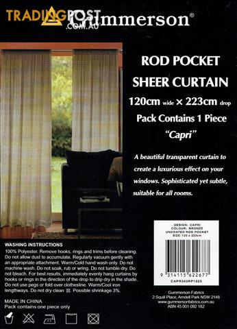 GUMMERSON UNCOATED ROD POCKET SHEER CURTAINS BRAND NEW