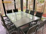 11 Piece Outdoor Setting - Glass Dining Table and Chairs - 10 Seats