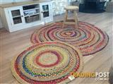 *NEW* Round Jute Natural Rug colourful 150x150cm