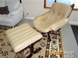 """Leather Lounge Chair & matching Foot Stool...Top Quality """"Module"""" brand in great condition."""