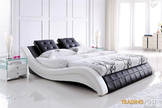 Super modern leather king size bed frame Bis S shape for sale in ...