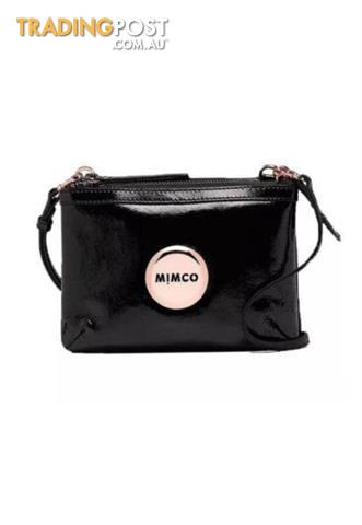 Mimco Secret Couch Patent Black with Rose Gold BNWT