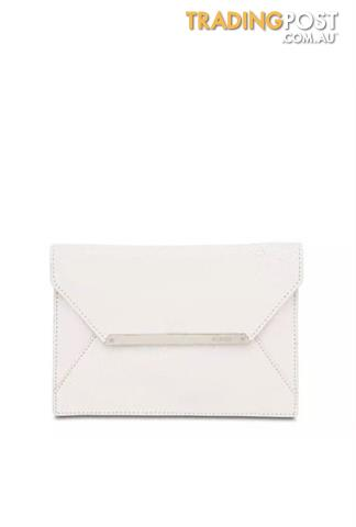 Mimco Patent White Large Leather Origami Envelope Clutch