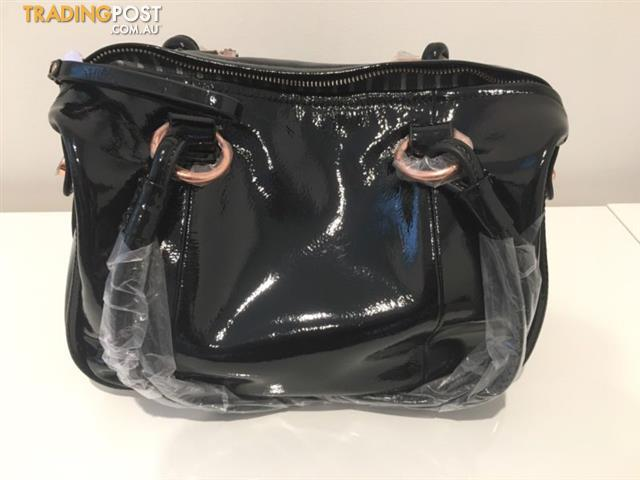 Mimco Large Patent Turnlock Zip Top Bag BNWT