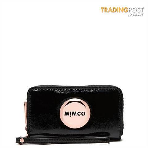 Mimco Mim Zip Tech Purse Black Patent Brand New