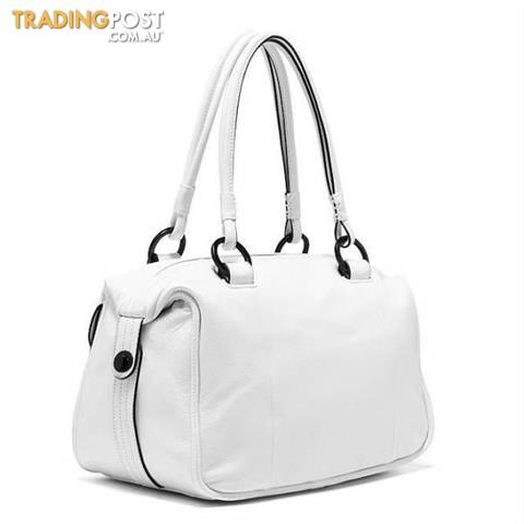 Mimco Large Turnlock Zip Top Bag in Matte White BNWT