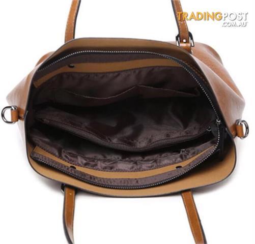 Brand New Brown Leather Bucket Shoulder Bag