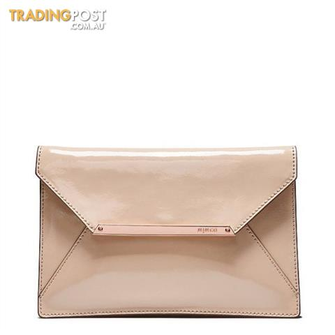 Mimco Origami Large Envelope Clutch in Patent Leather Vanilla