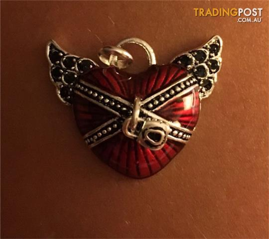Thomas Sabo Heart Wing Red Enamel Charm 925 Silver Authentic!