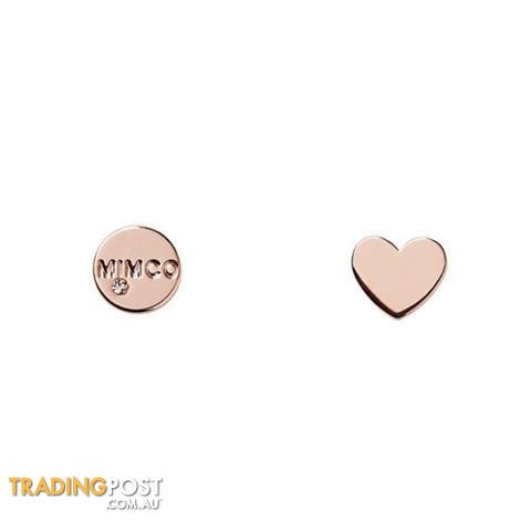 Mimco Take Two Heart Stud Earrings Rose Gold