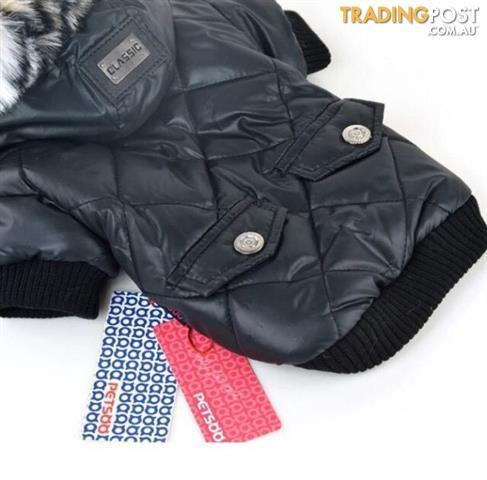 Black or Khaki Dog Jacket Parka Fur Hoodie