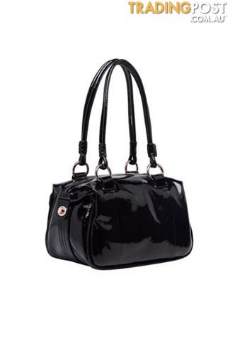 Mimco Mini Turnlock Zip Top Black Patent Bag