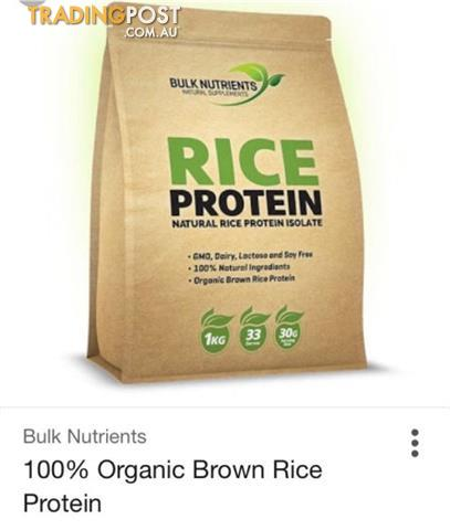 Bulk Nutrients Organice Rice Protein 1kg BRAND NEW & SEALED Bag